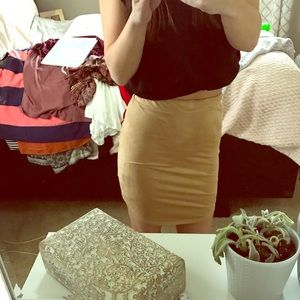 Camel colored suede skirt